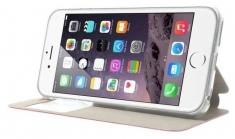 MW Book Case Window View Vierkant Patroon Rood voor Apple iPhone 6 Plus