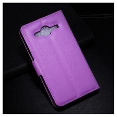 MW Wallet Book Case Litchi Paars voor Samsung Galaxy Core 2
