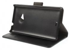 MW Wallet Book Case Litchi Zwart voor Microsoft Lumia 535