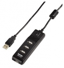 Hama 54590 USB 2,0 Hub 1:4 On/Off Zwart Wit