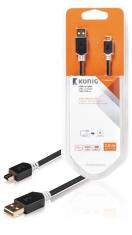 Konig KNC60300E30 Usb 2,0 Kabel A Male - Mini 5-pins Male 3,00 M Grijs