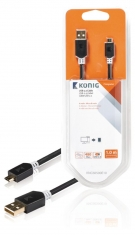 Konig KNC60500E10 Usb 2,0 Kabel A Male - Micro B Male 1,00 M Grijs