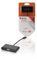 Konig KNC64760E02 Usb 3,1 Adapter Usb-c Male - Usb A Female / Usb-c Female / Vga Female 15-pins