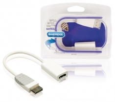 Bandridge BBM37150W02 Displayport Naar Hdmi-adapter Displayport Plug - Hdmi-uitgang 0,2 M Wit