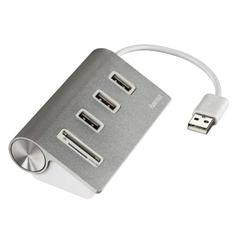 Hama USB-2.0-hub/kaartlezer Aluminium