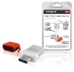Integral INFD128GBFUS3C Usb Stick Usb 3,0 128 Gb Aluminium/rood