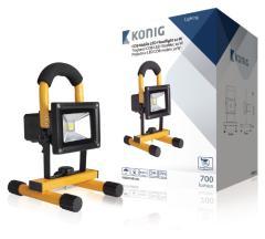 Konig KNLEDFLMB10W Mobiele Oplaadbare COB Led-bouwlamp 10W 700Lumen Eu-stekker