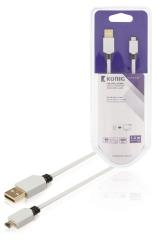 Konig KNM60410W10 Platte Usb 2,0 Kabel A Male - Micro B Male 1,00 M Wit