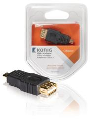 Konig KNC60901E Usb 2,0 Adapter Micro B Male - A Female 1 Stuk Grijs