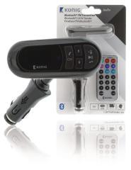 Konig CSBTFMTRANS100 Auto Audio Transmitter Bluetooth + Microfoon Zwart