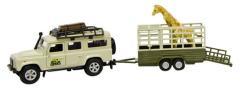 Kids Globe Safariset Landrover Met Aanhanger En Giraffe