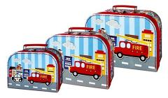 Simply for Kids 3-delige Kofferset Brandweerauto's